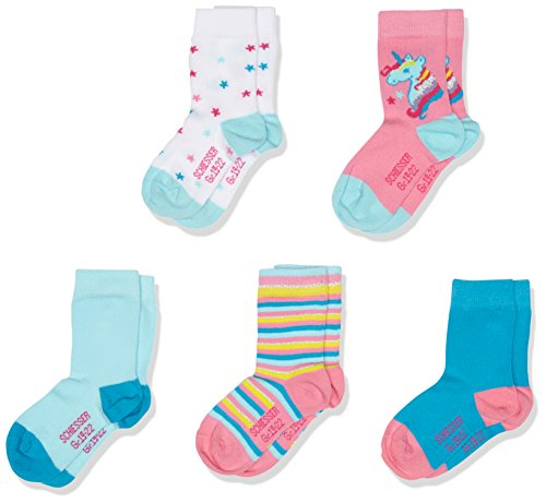 Schiesser Mädchen Socken Kindersocken , 5er Pack, Mehrfarbig (Sortiert 1), 23-26 (3-4 Y)