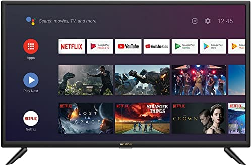 Hyundai Smart TV 32' HY-TVS32HD-006 - Televisor HD Android 9.0, con WiFi, Bluetooth y Google Play, x2 HDMI 2.0, x1 HDMI ARC, x2 USB, Ethernet, Antena TV, AV