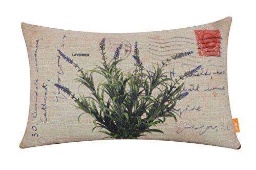 "LINKWELL 18""x11"" Vintage Lavender Burlap Cushion Covers Pillow Case"