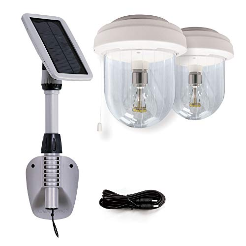 GAMA SONIC Light My Shed IV, Interior, 2 Solar Powered Lights, Wall or Ceiling Mount, White (GS-16B2)