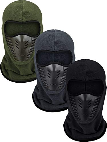 3 Pieces Full Face Cover Ski Balaclava Long Windproof Sports Headwear for Hunting Fishing Activity Supplies (Black, Army Green, Dark Grey)