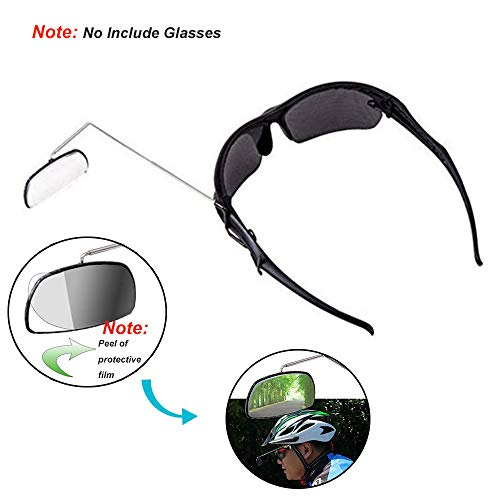 Bike Eye Glasses Rearview Mirror, 1Pcs Lightweight Biking Winter Mirrors Clear Mountain Bicycle Helmet Rear Mirrors for Cycling, Hiking, Bike Accessories, Black and Silver