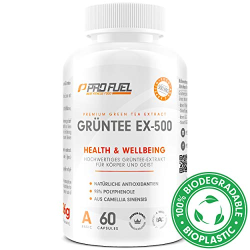 GRÜNTEE EX-500 | Hochwertiger Grüntee Extrakt | Natürliche Antioxidantien | Mit 98% bioaktiver Polyphenole, EGCG | Made in Germany | 60 Kapseln Green Tea