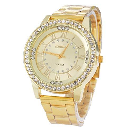 Souarts Unisex Round Rhinestone Big Dial Roman Numeral Analog Quartz Wrist Watch 22.5cm (Gold Color)