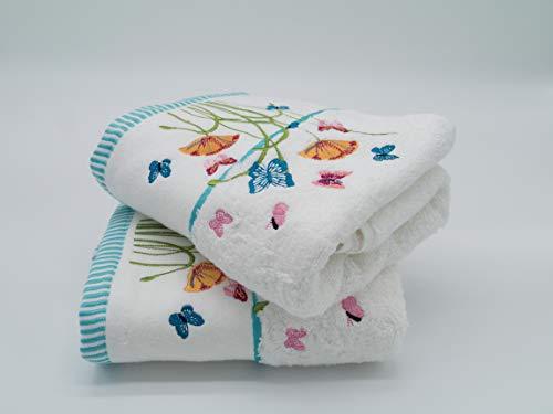 Lex's Linens - Juego de 2 toallas de mano con diseño de mariposas