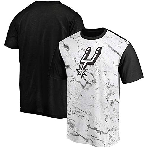 Camiseta NBA San Antonio Spurs Casual Loose Ejercicio Diario Media Manga Black-XL