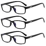 Suertree Blaulicht Lesebrille TR90 3 Pack Computerbrille Sehhilfe PC Gaming UV Blaues Blockiert Brillen Damen Herren 8012 1.5X