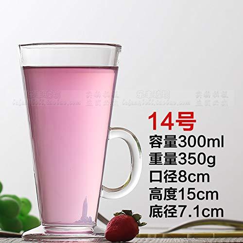 FEJK Transparentes Glas großkapazität Tasse Milch Tee Saft Dessert Tasse Cocktail Bier Schnaps Tasse 300ML Wassermelone Rot