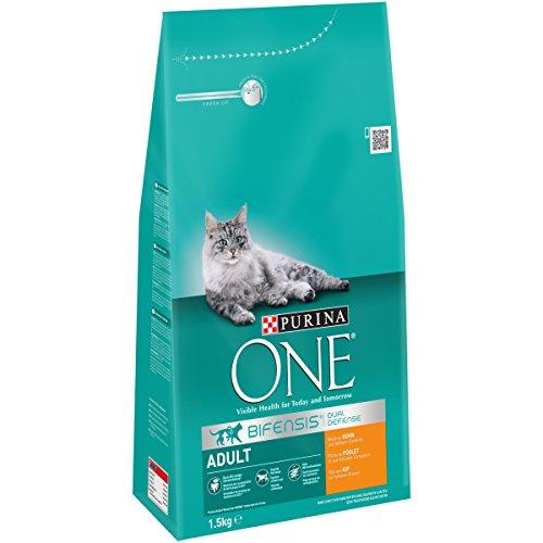 Purina ONE BIFENSIS Adult Katzentrockenfutter: reich an Huhn, stärkt natürliche Abwehrkräfte, für gesunde Knochen, Haut, Zähne & Harnwege I ab 1 Jahr, 6x1,5kg