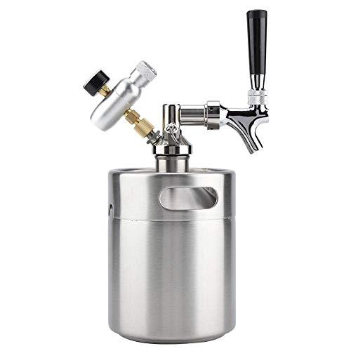 Bonheur Bier-Fass, 2L Keg Mini Edelstahl Bier-Fass mit Hahn Pressurized Startseite Brewing Craft Beer Dispenser System for Gären Speichern Dispensing Craft Beer iji