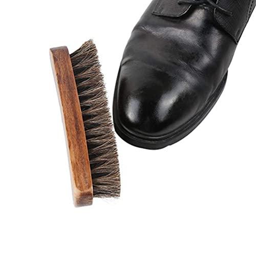 FILWO 1Stück Rosshaarbürste mit Holzgriff tragbar Schuhbürste Weiche Rosshaar-Reinigungsbürste Schön für Schuhe, Möbel, Auto, Zuhause