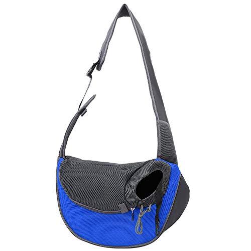 Kasiqi Pet Carrier Bag, Pet Puppy Carrier, Outdoor Travel Dog House, Shoulder Bag for Pet, Mesh Sling Handbag for Cat, Foldable Cat Carrier Transport Bag(Blue L)