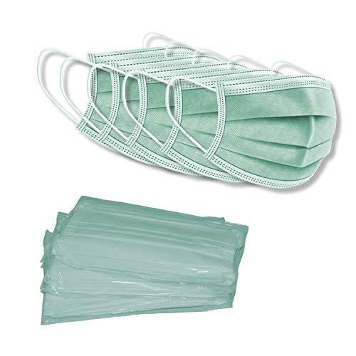 Baideren® Maske Schutzmaske, 3 Lagig Einweg Mund und Nasenschutz Maske (50 Stück, 10 x 5) (Grün)