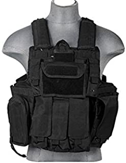 LT 303B MOLLE PALS Military Training Hunting Gaming Vest with Web Modular System Black Fit Small Medium Large Sizes