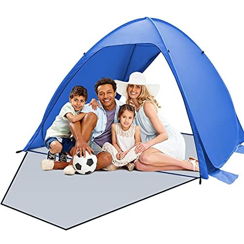 Qomolo Tenda da Spiaggia per 3-4 Persones, UV 50+ Pop Up Tenda da Campeggio Tenda Parasole Portatile, per Spiaggia, Campeggio (Blu Scuro)