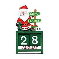 Chris.W クリスマスカレンダーブロック 木製パーペチュアルデスクカレンダー装飾 ホーム&オフィス装飾 クリスマスデコレーション (サンタ)