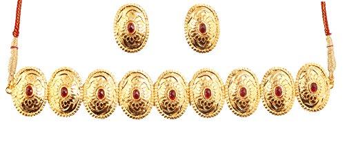Touchstone Conjunto de Collar de Gargantilla de Boda de diseñador de imitación rubí Inspirado en el Sur de la India de Bollywood Indio con Relieve y Metal Fino para Mujer Rojo 2