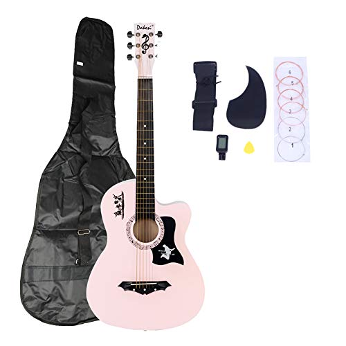 ratiomise 38' Acoustic Guitar, Full Size Beginner Basswood Guitar with Gig Bag, LCD Tuner, Strings, Strap, Picks and Pickguard for Kids, Boys, Girls, Teens, Beginners (Pink)