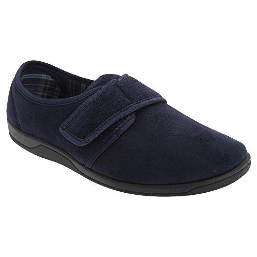 Sleepers Herren Tom Hausschuhe/Pantoffeln mit Klettverschluss, Wildleder-Imitat (42 EU) (Marineblau)