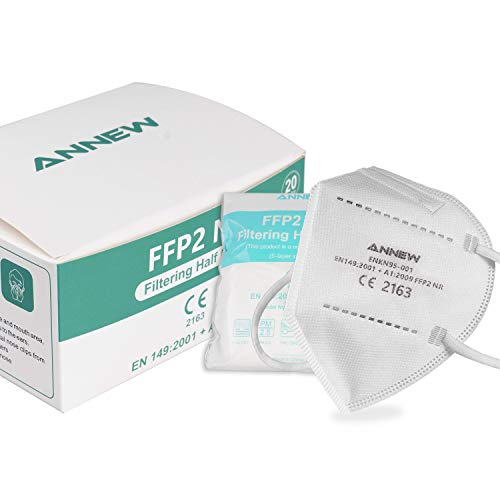 ANNEW Maschera FFP2 MASK pezzi Maschere protettiva con filtrazione a 5 strati Maschera certificata CE per adulti