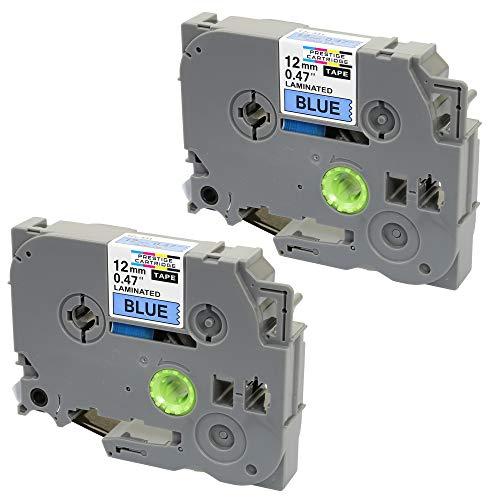 Prestige Cartridge tape TZ531 voor Brother P-Touch 1090/1230PC/1830VP/2430PC, 2 tapecassettes, 12 mm x 8 m, zwart/blauw