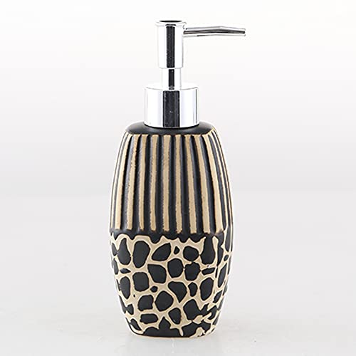 QAY Dispensador De Jabón, Dispensador De Jabón De Mano, Botella De Loción Cerámica con Diseño De Leopardo único para Baño De Cocina, Dispensador De Jabón Líquido Recargable(Size:300ML,Color:A)