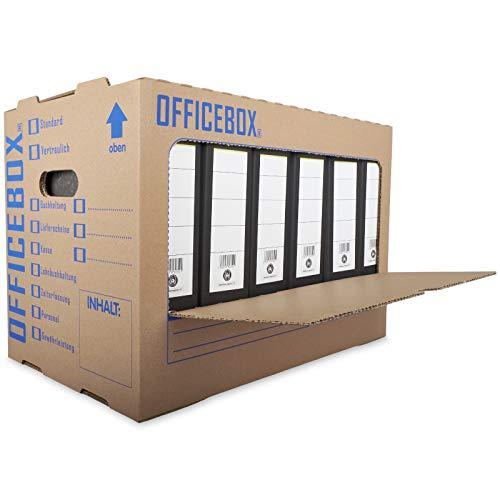 KK Verpackungen® Ordnerkarton Officebox | 10 Stück, Stabile Archivbox mit Sichtfenster für bis zu 6 Ordner | Stapelbare Archivkartons mit Ankreuz- & Beschriftungsfeldern in Braun