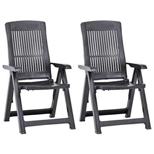CCLLA Sillas de jardín, sillas de jardín Plegables 2 Piezas, Silla de Director de plástico Antracita