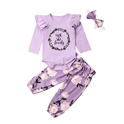 Newborn Infant Baby Girl Clothes Ruffle Romper Bodysuit Floral Pants Headband Fall Winter Outfits (C-Purple isnt she Lovely 3pc,12-18 Months)