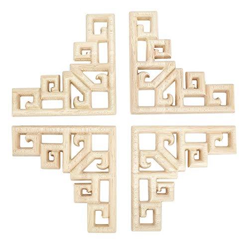 SUPERFINDINGS Patrones Geométricos de 80 mm Madera Maciza Natural Tallada Aplique de Incrustación Artesanal Sin Pintar Aplique de Esquina para Muebles para Puertas de Casa Ventanas Decoraciones