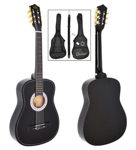 Akustik Gitarre Klassikgitarre Konzertgitarre in Schwarz mit Tasche, Saiten, Plektrum und Gurt