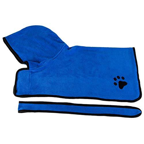 MERIGLARE Toallas de Baño Suaves para Mascotas Toalla de Secado para Perros Albornoz para Perros Toalla de Baño para El Aseo Comodidad - L-Azul