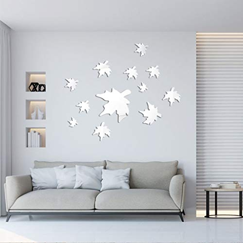 Lowest Prices! Ugood 2019 Hot 1set 12pcs Acrylic 3D Maple Leaf Combination Mirror Effect Wall Sticke...