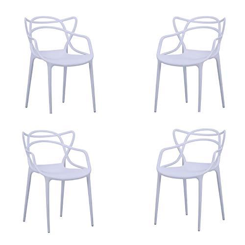 Butterfly, Pack de 4 sillas, Salón, Comedor, Escritorio, Cocina o Terraza, Acabado en Blanco, Medidas: 55 cm (Ancho) x 55 cm (Fondo) x 83 cm (Alto)