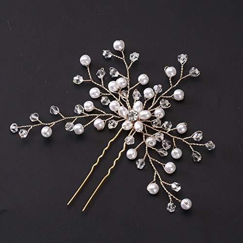 Wedding Hair Needle Pearl Flower Hair Clip Mariée Coiffure Lady Bijoux Bijoux Or