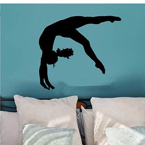 Wandaufkleber Gymnastic Wall Art Cheerleader Wandtattoo Sport Wohnkultur Mädchen Geschenk Schlafzimmer Dekor Vinyl Wandbild 61X58Cm