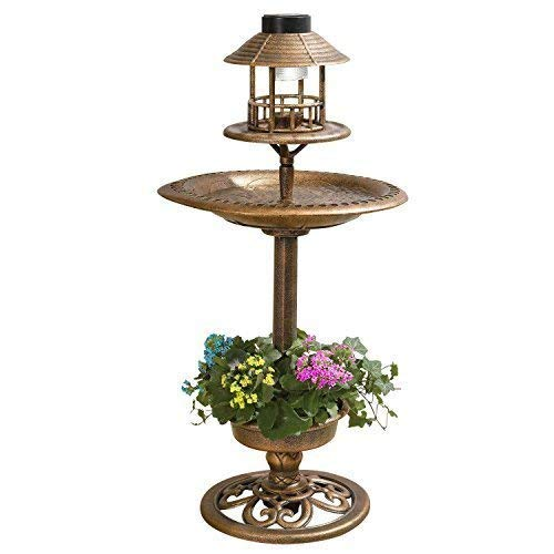 garden mile Large Bronze Effect Ornamental Bird Feeder Bird Bath Garden Bird Table With LED Lights And Flower Planter - Garden Ornaments Solar Lights Garden