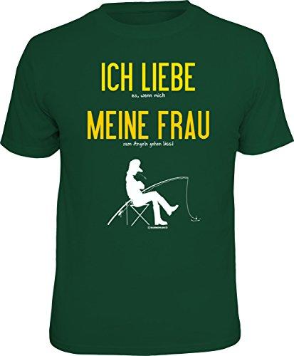 RAHMENLOS Original T-Shirt für Angler und Fischer: Ich Liebe Meine Frau., Grün, XXL