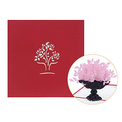 Infgreate -Valentine's Day PresentCreative Rose Flower 3D Pop Up Paper Greeting Card Valentine's Day Birthday Gift - Pink