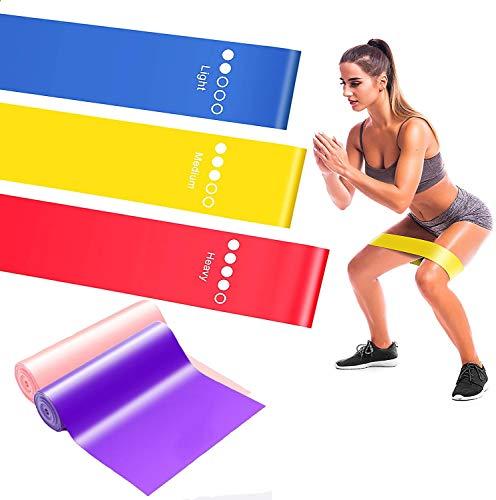 Elastici Fitness, Tre Livelli di Resistenza, più due Fasce Fitness, Adatte per Fitness Yoga, Pilates