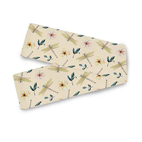 TropicalLife F17 - Camino de mesa rectangular con diseño de libélula, hojas de flores de 33 x 228 cm, poliéster para decoración de bodas, cocina, fiestas, banquetes, comedores, mesas de centro