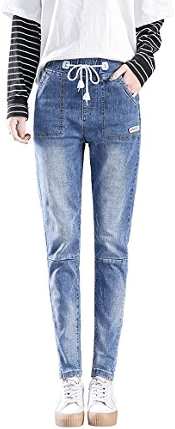 OLQMY Baggy jeans and baggy trousers students in autumn and winter tight waist Haren pants
