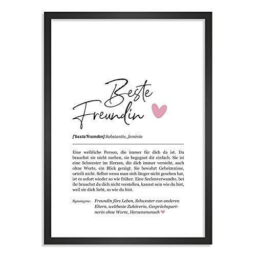 Himmelsflüsterer - Definition Poster & Kunstdrucke | Beste Freundin Geschenke | Wandbilder | Geschenk Beste Freundin Geburtstag | Wanddeko Deko Wohnzimmer | Bilder mit Rahmen | DINA A4 mit Rahmen