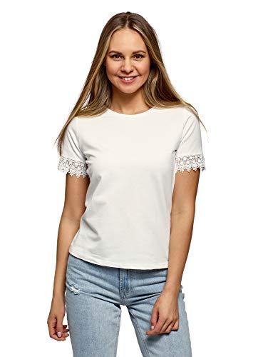 oodji Ultra Damen Baumwoll-T-Shirt mit Spitzenbesatz an den Ärmeln, Weiß, DE 38 / EU 40 / M