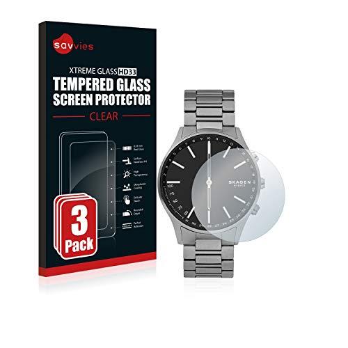Savvies Panzerglas kompatibel mit Skagen Hybrid Smartwatch Holst (3 Stück) - Echt-Glas, 9H Festigkeit, Anti-Fingerprint