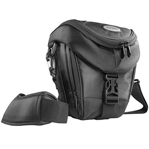 Mantona Colt DSLR Kamera Tasche für Spiegelreflex, SLR, Kompaktkamera, Systemkamera, Schultertasche Umhängetasche mit Platz für Zubehör, wasserdicht, schwarz