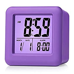 Plumeet Digital Alarm Clocks Travel Clock with Snooze and Purple Nightlight - Easy Setting Clock Display Time, Date, Alarm - Ascending Sound - Battery Powered (Purple)