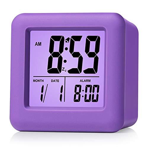 Plumeet Digital Alarm Clocks Travel Clock with Snooze and Purple Nightlight - Easy Setting Clock Display Time, Date, Alarm - Ascending Sound - Battery Powered (Purple)