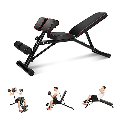DlandHome Home Gym Adjustable Bench Sit Up Incline Exercise Dumbbell Bench Height Adjustable, Multi-Functional Strength Training Fitness Workout Station, PSBB004-N, upgrate