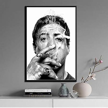 JLFDHR Toile oeuvre Peinture 30x50cm sans Cadre Sylvester Stallone Fumer Cigare Film Star Art Peinture Toile Affiche Mur d/écor /à la Maison